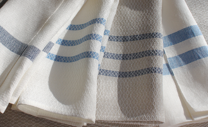 Linen Towels (l to r) Queen's Cord, Lozenge (2), Point Twill